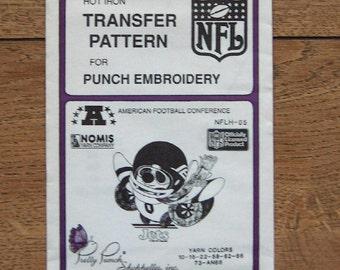 Vintage 80s pretty punch embroidery transfer pattern NFLH-05 Jets NFL  pkg sealed nip unused