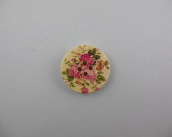 Button printed wood flower