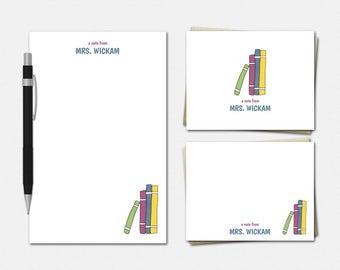 Stack of Books Teacher Stationery Set - Personalized Stationery - Teacher Stationary - Teacher Gifts