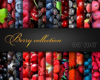 Berry Collection / Strawberry Blueberry Raspberry Blackberry / Paper For Craft / Digital Paper / Pack of 26 JPG files 300dpi / Real Photos