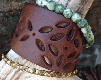 Leather cutout bracelet stack