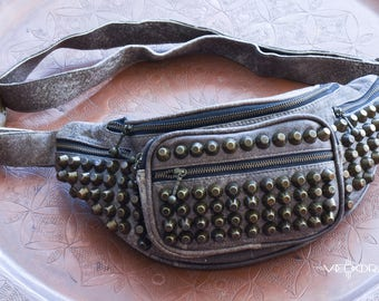 Gray Genuine Leather Studded Fanny Pack Leather Money Belt Studded Purse Leather Purse Bum Bag Leather festival Hip Belt Vintage Fanny Pack