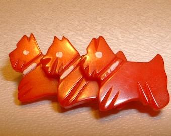 Vintage Triple Red BAKELITE Scottie Dog Pin Brooch (E310)
