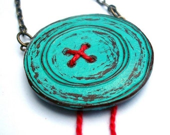Big Turquoise Button Necklace with Red Thread, Rustic Button Necklace, Seamstress Gift, Button Collector Gift, Gift for Crafter, Mom Gift