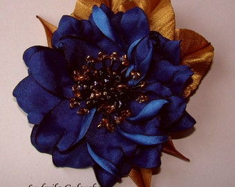 Handmade blue satin flower brooch, flower clip & pin, embroidered flower