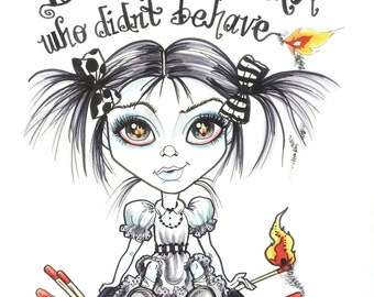 D is For Dora Horror Fantasy Lowbrow Art Print by Leslie Mehl 8.5 X 11