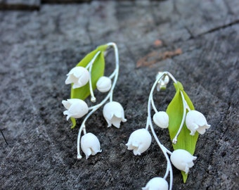 The lily of the valley jewelry from polymer clay, Fashion Bridal shower gift, floral stud earrings