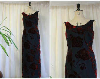 Vintage Silk Velvet Evening Dress- Laura Ashley Black and Burgundy Red Maxi, UK 8 / USA 4