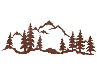 Rustic Mountain Scene Metal Laser cut Steel Wall Art