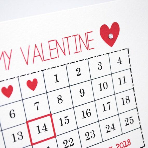 Karte Zum Valentinstag | Februar 2018 | Kalender Karte | Happy Valentines  Day Card | Liebe Card | Karte Für Frau | Karte Für Freund HVD005