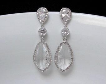 pave bridal earrings , silver crystal bridal earrings , long clear glass bridal earrings , wedding jewelry , bridesmaids clear earrings