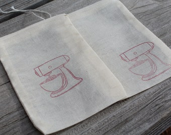 Set of 10 Hand stamped Kitchen Mixer Baker Baking Bag Muslin Party Favor Bags Eco Friendly 100% organic