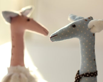 Little toy giraffe, couple stuffed toys, animal cotton giraffes, soft gift for couple, fabric giraffe
