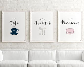 Set of 3 Prints // Paris Decor, Gallery Wall Prints, Typography Wall Art, Paris Wall Art, Wall Art Prints, Typography Print, French Prints