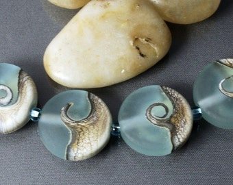 Jane Perala Designs Glass Bead Set - TIDAL SURGE - set of 4 etched glass beads.