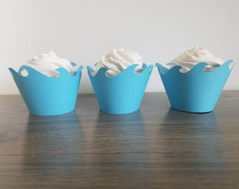 12 Count aqua blue wave cupcake wrapper cupcake wraps, Ocean, Moana , mermaid, beach, Ariel, nautical, ocean waves