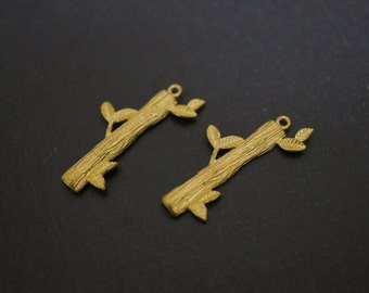 Vintage Solid Brass High Quality Simple Tree Twigs Bamboo Shoot Charm Sticks  - 2 pieces