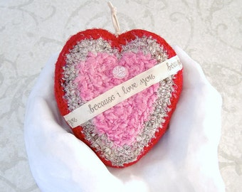 Silk Tapestry Heart - Deluxe Heart Shaped Silk Ornament with Love Message - Unique Valentine's Day, Mother's Day, Wedding Anniversary Gift