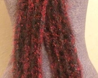 Fuzzy black and red crocheted scarf