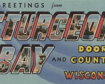 Sturgeon Bay, Wisconsin - Door County - Large Letter Scenes (Art Print - Multiple Sizes Available)