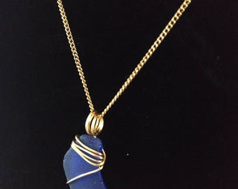 Blue sea glass necklace with 10k gold plated chain
