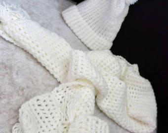 Pom Pom Crocheted Beanie with scarf