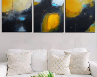 Ready to hang gold painting, three panels painting, black and gold painting, Large Abstract Painting, black painting, triptych yellow art