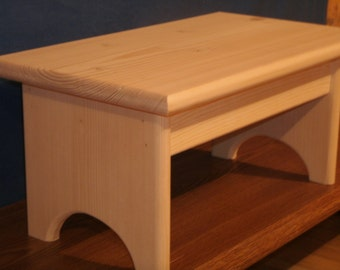 """rustic wooden step stool, 7 1/2"""" wooden stool, wooden stool unfinished pine, step stool, wooden bench, wooden footstool, Bathroom stool"""