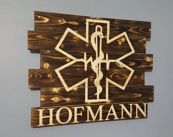 EMS, Emergency Medical Services, EMT, Star of Life, EMS Logo, Paramedic, Rustic Wall Art