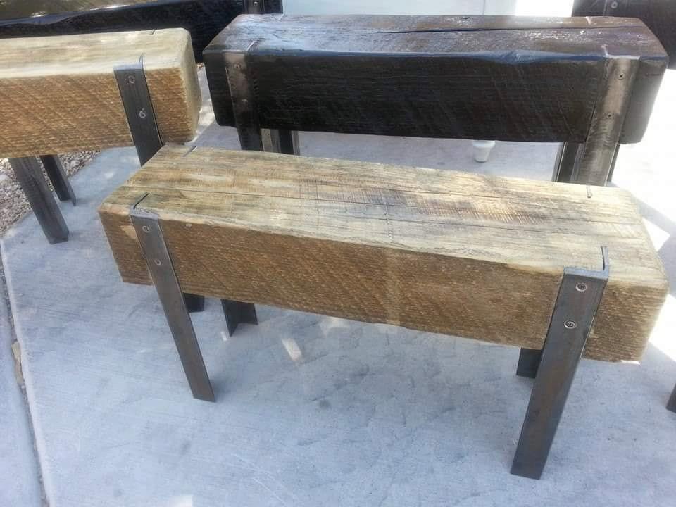 Upcycled Wood Beam And Angle Iron Bench