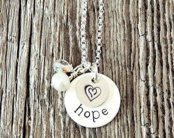 Hope Necklace, Double Heart Necklaces, Double Heart Jewelry, Heart Necklaces for Women, Adoption Gifts,