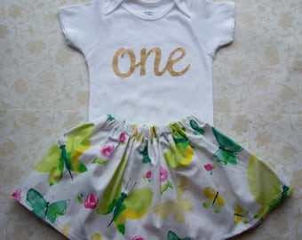 Baby girl first birthday outfit,1st birthday dress,Pink,Green,Floral,Butterfly,One,Easter,Onesie,Baby girl,Gold,Cake smash,Egg hunt,Roses