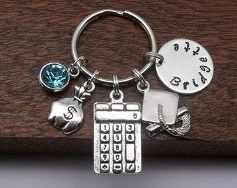 Banker name gift, banker name keyring, accountant keychain gift, book keeper keyring gift, financial gift, personalised economics gift