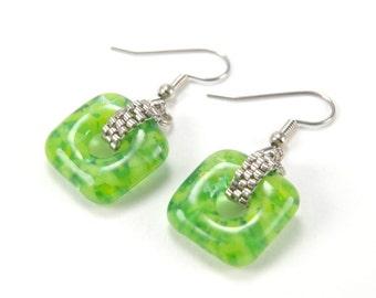 Spring green marble squares earrings - vivid green beaded fused glass dangle earrings