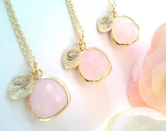 20% SALE Blush Pink Necklace Initial Necklace Jewelry Set Personalized Bridesmaid Gift Bridesmaid Necklace Bridal Jewelry Wedding