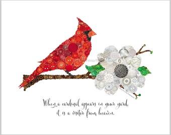 Cardinal Wall Art PRINT | Cadeau de sympathie | Perdu cher | Quand un Cardinal apparaît dans votre jardin | Visiteur du ciel | Art mural oiseau rouge