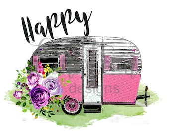 Happy Camper clipart, instant download, Sublimation graphics, PNG