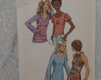 """Simplicity 9930 Pattern Misses' Knit Tops Halter Tank Bell Sleeve Size 10 Bust 32 1/2"""" Uncut 1970's"""