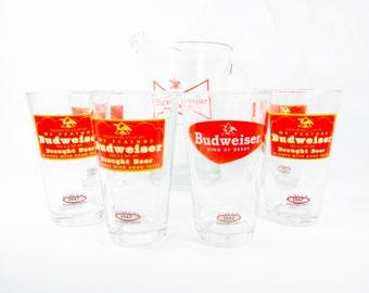 Budweiser, barware, glass set, vintage glass, Budweiser pitcher,beer glass, red, retro pint, 1950s, man cave, football,party,restaurant, bar
