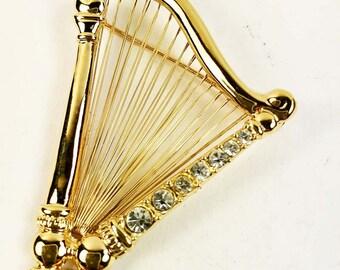 Wire Harp Brooch-Clear Rhinestones-Gold Tone Vintage-Harp Brooch with Clear Rhinestones Gold Tone Vintage