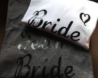 Bride & Team Bride  with Heart Iron On Decal - Bachelorette Party - Brideift - Bride Shirt - Bridesmaid Gift - Tote Bag - Set or Single