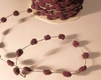 braid wire silver plum tassels