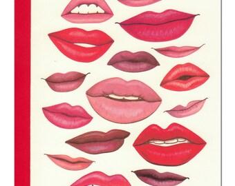 Kisses Card full of smoochy lips