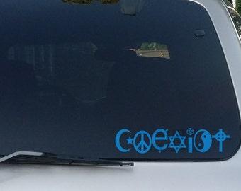 Coexist Decal Religion.Hippie, Bumper Sticker, Car Decal, Car Stickers, Car Window Decal, Laptop, Tablet, Macbook