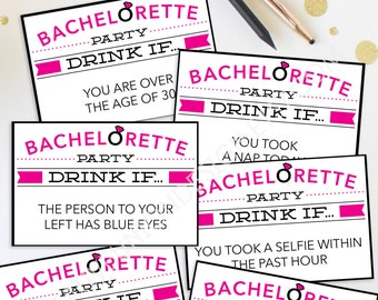 Bachelorette Party Game - Drink If Game - Printable Bachelorette Game - Bachelorette Party - Drink If Game - Bachelorette Drinking Game