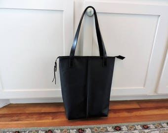 Leather Market Bag / Leather Tote / Black Leather Tote / Leather Shopping Tote / Minimalist Leather Bag