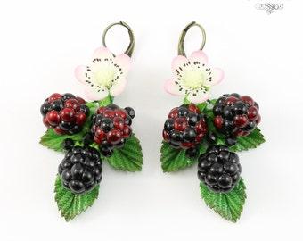 Exclusive piecework Blackberry Eaarrings, Blackberry drop earrings, Polymer clay blackberry, Original Blackberry earrings, Forest earrings