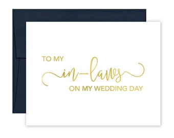 To My In Laws on my Wedding Day Cards - Wedding Card - Day of Wedding Cards - In-Laws Wedding Card - In Laws Wedding Day Card (CH-4NB)