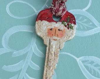 Hand Painted Santa Key Ornament/ Handmade Santa/ Key Art/ Christmas Ornament