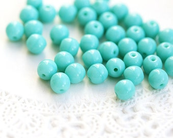5mm Round beads, Czech glass Turquoise green spacers, mint, 5mm druk - 40Pc - 0528